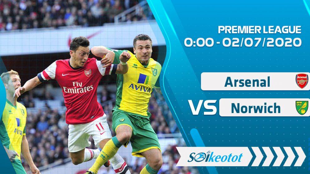W88 Dự đoán Arsenal vs Norwich lúc 0h ngày 2/7/2020