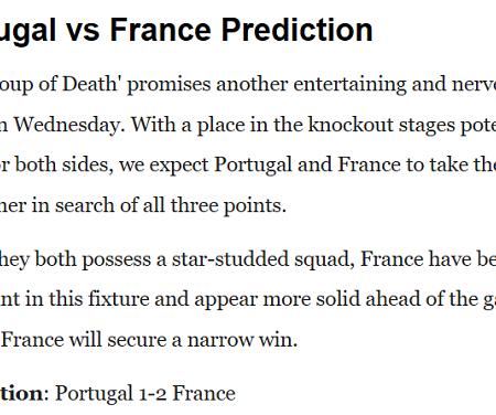 Dự đoán Bồ Đào Nha vs Pháp (2h 24/6) bởi chuyên gia Joshua Ojele – Nhà Cái 188Bet